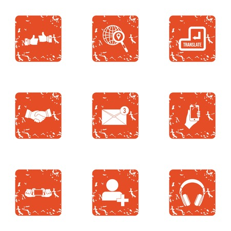 New post icons set, grunge style Stock Vector - 110561226