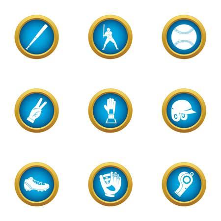 Baseball bead icons set. Flat set of 9 baseball bead vector icons for web isolated on white background