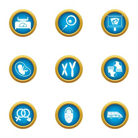 Somatic cell icons set. Flat set of 9 somatic cell vector icons for web isolated on white background