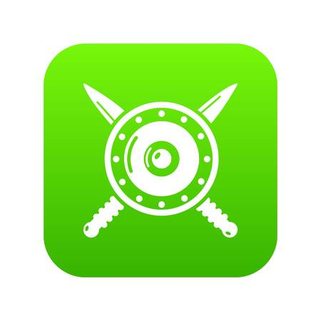 Medieval shield and swords icon green vector isolated on white background