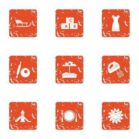Parent course icons set. Grunge set of 9 parent course vector icons for web isolated on white background