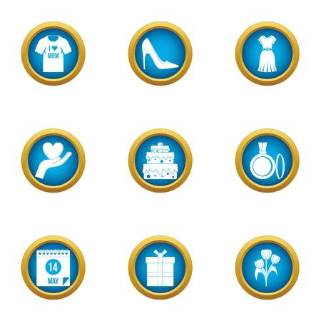 February icons set. Flat set of 9 february vector icons for web isolated on white background