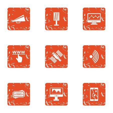 Satellite intervention icons set, grunge style 일러스트
