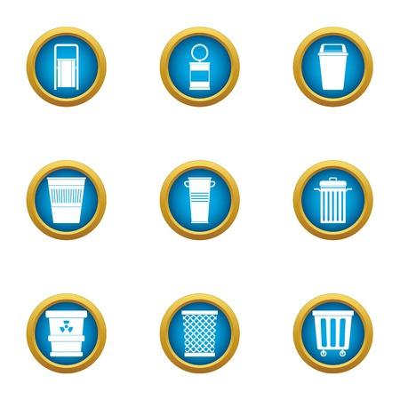 Consumption basket icons set. Flat set of 9 consumption basket vector icons for web isolated on white background Illustration