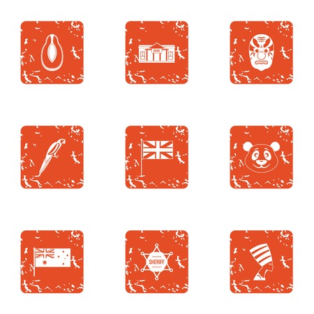 First nation icons set. Grunge set of 9 first nation vector icons for web isolated on white background 일러스트