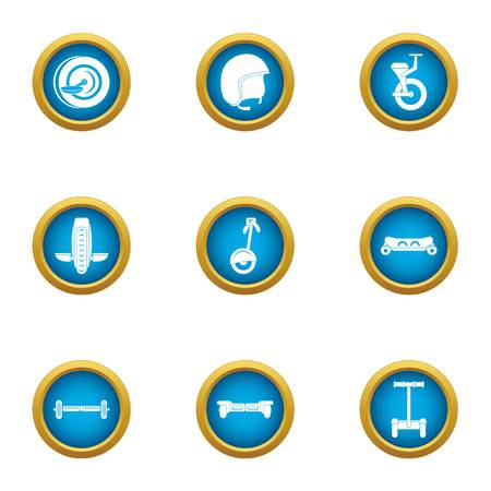 Cartwheel icons set, flat style