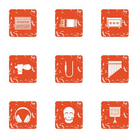 Vernacular icons set. Grunge set of 9 vernacular vector icons for web isolated on white background Illustration