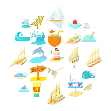 Seafaring icons set. Cartoon set of 25 seafaring vector icons for web isolated on white background Vettoriali