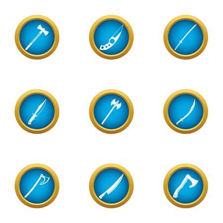 Killing tool icons set, flat style