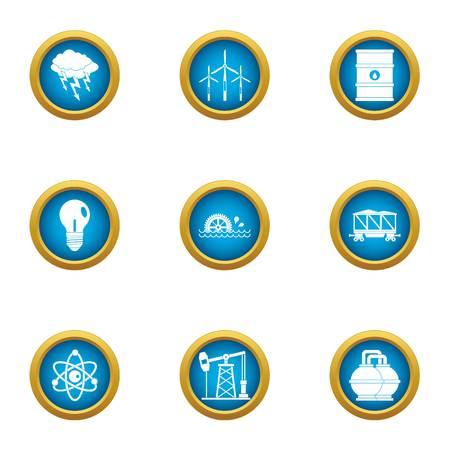 Atom icons set, flat style