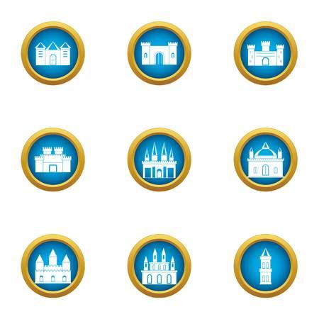 Spire icons set, flat style Illustration