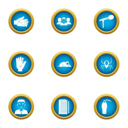 Cyber interface icons set. Flat set of 9 cyber interface vector icons for web isolated on white background
