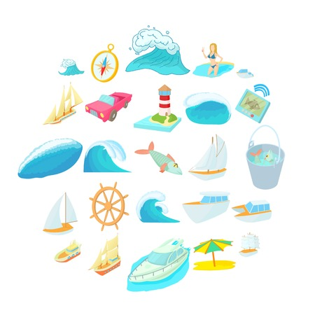 Exploration of sea icons set, cartoon style