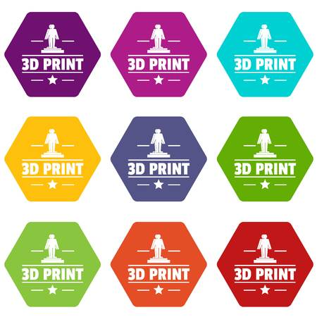 Process 3d printing icons 9 set coloful isolated on white for web