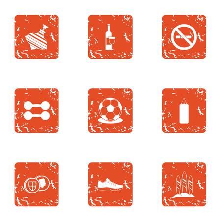 Pastime icons set. Grunge set of 9 pastime vector icons for web isolated on white background Illusztráció