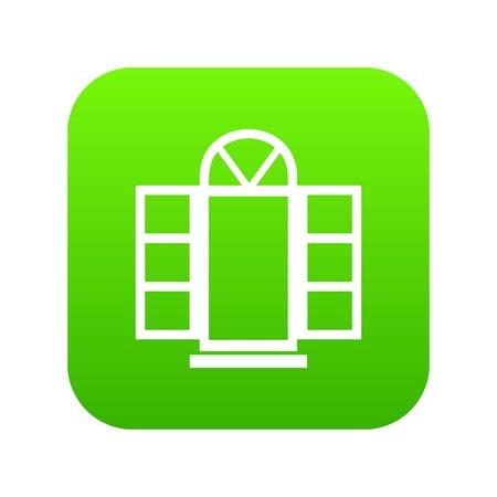 Open narrow window frame icon green vector
