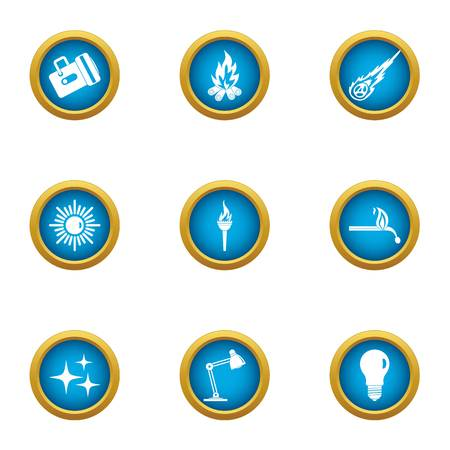 Artificial lighting icons set. Flat set of 9 artificial lighting vector icons for web isolated on white background