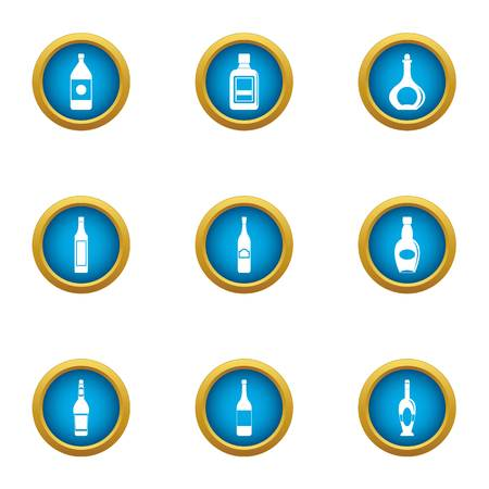 Oil bottle icons set. Flat set of 9 oil bottle vector icons for web isolated on white background