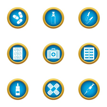 Patch icons set. Flat set of 9 patch vector icons for web isolated on white background