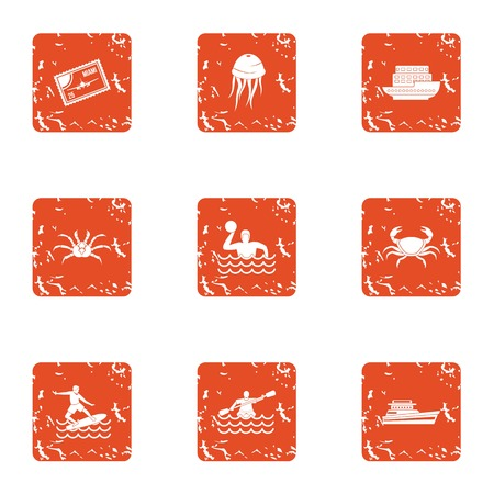 River hike icons set. Grunge set of 9 river hike vector icons for web isolated on white background Illustration