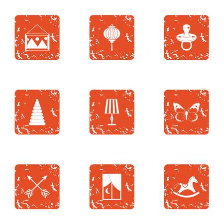 Boyishness icons set, grunge style Illustration
