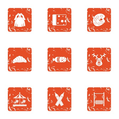 Childishness icons set, grunge style Illustration