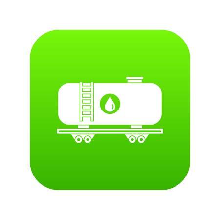 Oil railway tank icon digital green Illustration