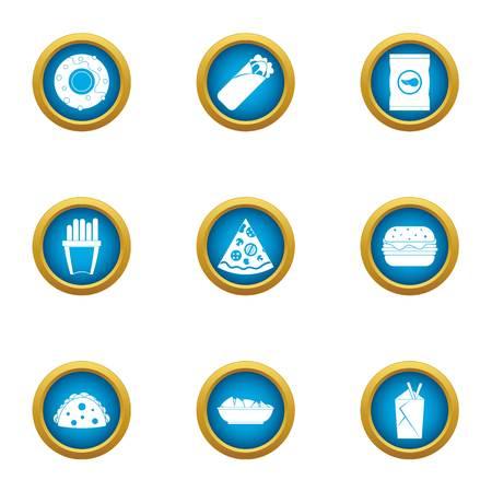 Doughnut icons set. Flat set of 9 doughnut vector icons for web isolated on white background Illustration