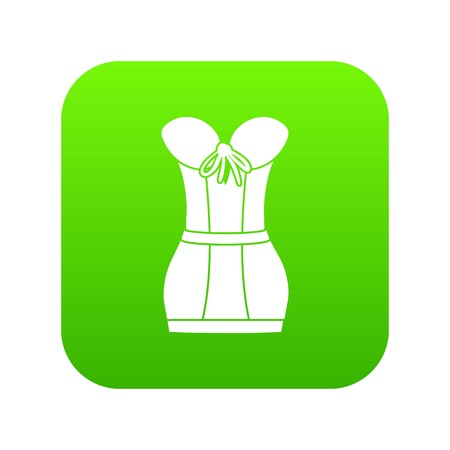 Retro corset icon green vector