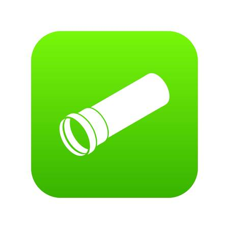 Plastic pipe icon green vector isolated on white background