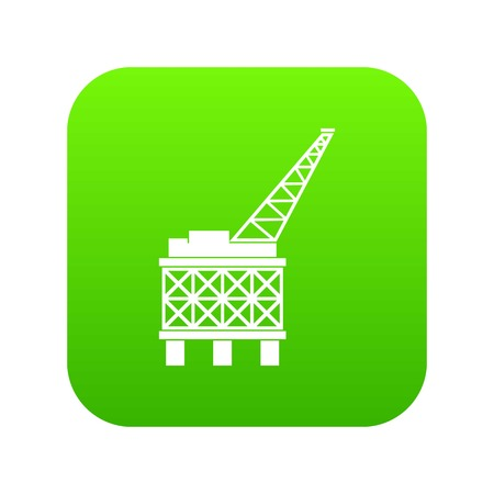 Oil platform icon digital green