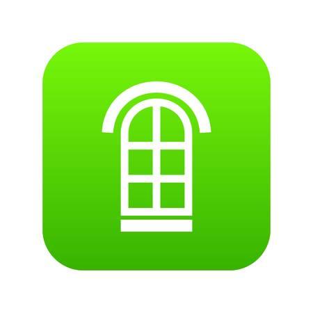 Semicircular window frame icon green vector