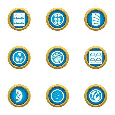 Freezing food icons set. Flat set of 9 freezing food vector icons for web isolated on white background