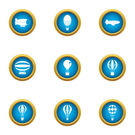 Floating air icons set. Flat set of 9 floating air vector icons for web isolated on white background