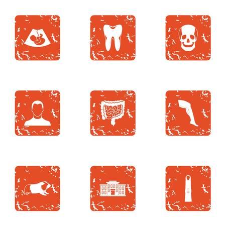 Maturation icons set, grunge style