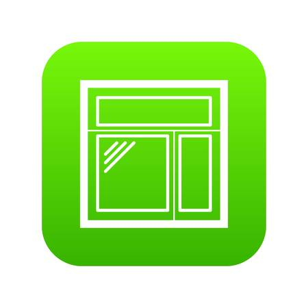 Square window frame icon green vector