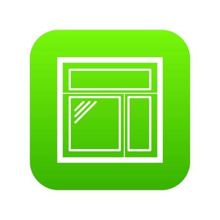 Square window frame icon green vector  イラスト・ベクター素材