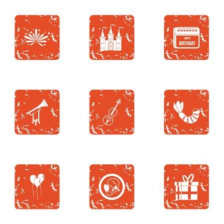 Keepsake icons set. Grunge set of 9 keepsake vector icons for web isolated on white background