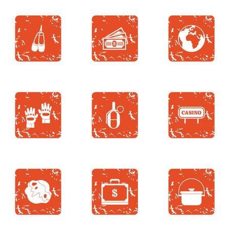 Global exchequer icons set. Grunge set of 9 global exchequer vector icons for web isolated on white background