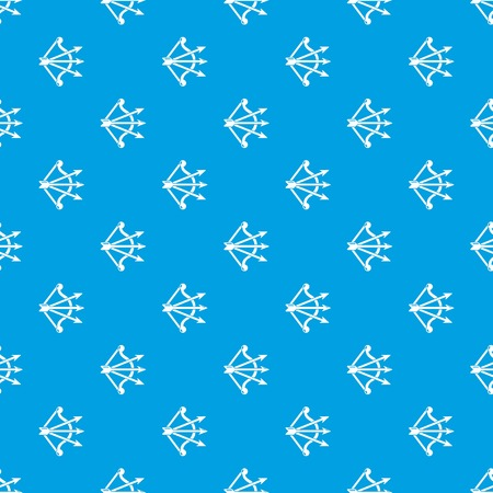 Bow and arrows equipment pattern vector seamless blue