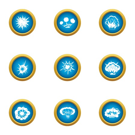 Microexplosion icons set, flat style