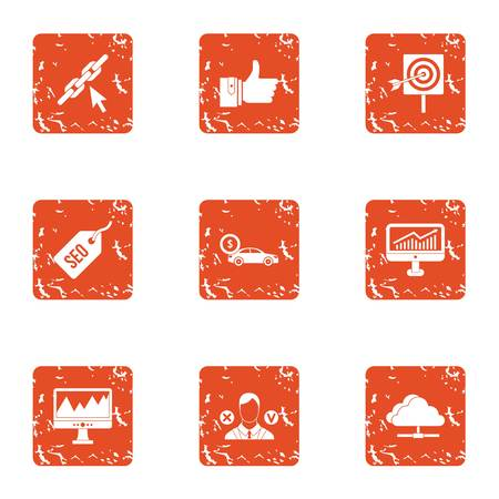 Level increase icons set. Grunge set of 9 level increase vector icons for web isolated on white background