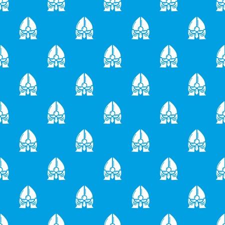 Historical knight helmet pattern vector seamless blue
