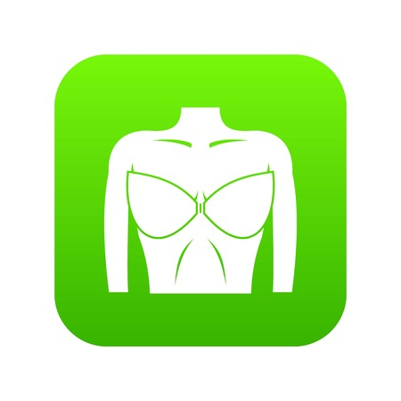 Female breast in a bra icon digital green for any design isolated on white vector illustration Illustration