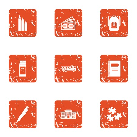 School expenses icons set. Grunge set of 9 school expenses vector icons for web isolated on white background Illustration