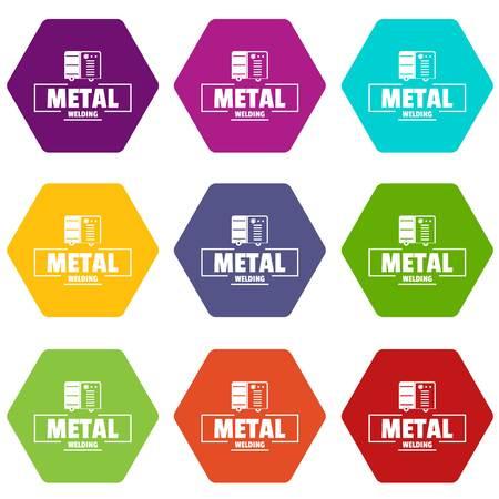 Welding metal icons set 9 vector