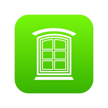 Retro window frame icon green vector  イラスト・ベクター素材