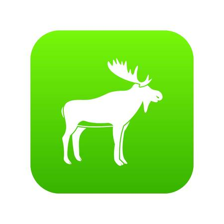 Deer icon digital green for any design isolated on white vector illustration Illustration
