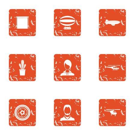 Helmsman icons set. Grunge set of 9 helmsman vector icons for web isolated on white background