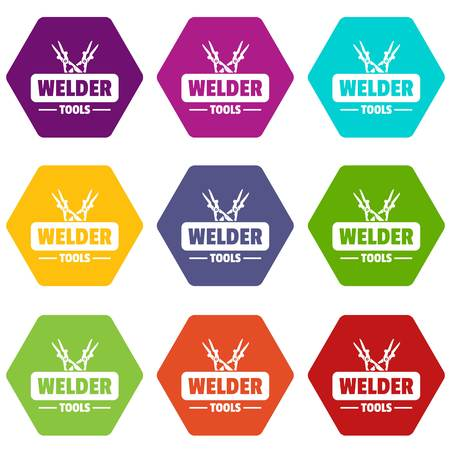 Welder work icons set 9 vector